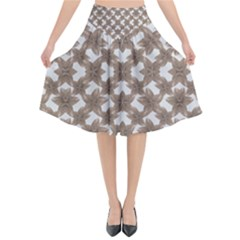 Stylized Leaves Floral Collage Flared Midi Skirt
