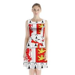 County Carlow Coat of Arms Sleeveless Waist Tie Chiffon Dress