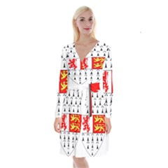 County Carlow Coat of Arms Long Sleeve Velvet Front Wrap Dress