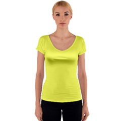 Neon Color - Light Brilliant Yellow Women s V-Neck Cap Sleeve Top