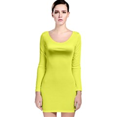 Neon Color - Light Brilliant Yellow Long Sleeve Velvet Bodycon Dress