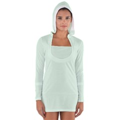 Neon Color - Light Malachite Greenish Gray Women s Long Sleeve Hooded T-shirt