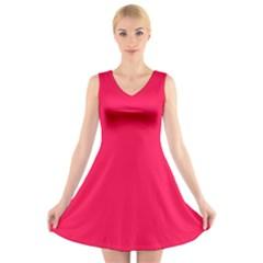 Neon Color - Luminous Vivid Crimson V-Neck Sleeveless Skater Dress