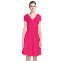 Neon Color - Luminous Vivid Crimson Short Sleeve Front Wrap Dress