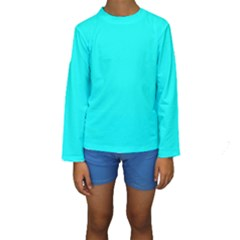 Neon Color - Luminous Vivid Cyan Kids  Long Sleeve Swimwear