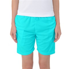 Neon Color - Luminous Vivid Cyan Women s Basketball Shorts