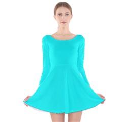 Neon Color - Luminous Vivid Cyan Long Sleeve Velvet Skater Dress