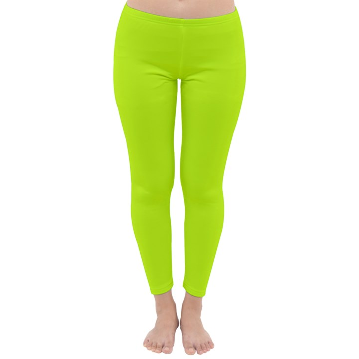 Neon Color - Luminous Vivid Lime Green Classic Winter Leggings