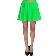 Neon Color - Luminous Vivid Malachite Green Skater Skirt