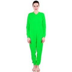 Neon Color - Luminous Vivid Malachite Green OnePiece Jumpsuit (Ladies)