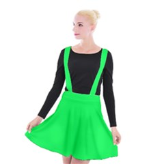 Neon Color   Luminous Vivid Malachite Green Suspender Skater Skirt