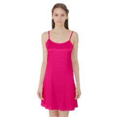 Neon Color - Luminous Vivid Raspberry Satin Night Slip
