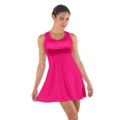 Neon Color - Luminous Vivid Raspberry Cotton Racerback Dress