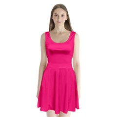 Neon Color - Luminous Vivid Raspberry Split Back Mini Dress