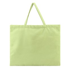 Neon Color - Pale Lime Green Zipper Large Tote Bag