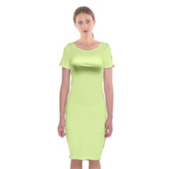 Neon Color - Pale Lime Green Classic Short Sleeve Midi Dress