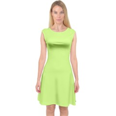 Neon Color - Very Light Spring Bud Capsleeve Midi Dress