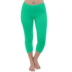 Neon Color - Vivid Aquamarine Capri Winter Leggings