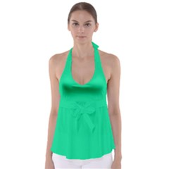 Neon Color - Vivid Aquamarine Babydoll Tankini Top