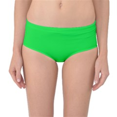 Neon Color - Vivid Malachite Green Mid-Waist Bikini Bottoms