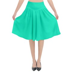 Neon Color   Vivid Turquoise Flared Midi Skirt