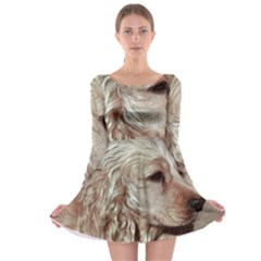 Golden Cocker spaniel Long Sleeve Skater Dress