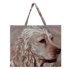 Golden Cocker spaniel Zipper Large Tote Bag