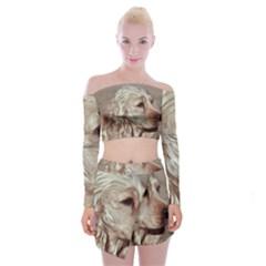 Golden Cocker spaniel Off Shoulder Top with Skirt Set