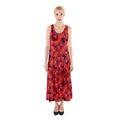 Fake Wood Pattern Sleeveless Maxi Dress