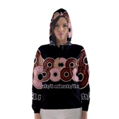 Five donuts in one minute  Hooded Wind Breaker (Women)