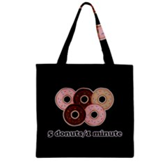 Five donuts in one minute  Zipper Grocery Tote Bag