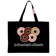 Five donuts in one minute  Large Tote Bag