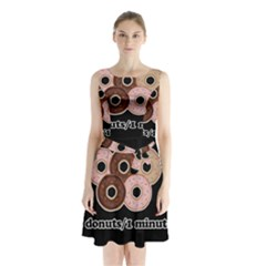 Five donuts in one minute  Sleeveless Waist Tie Chiffon Dress