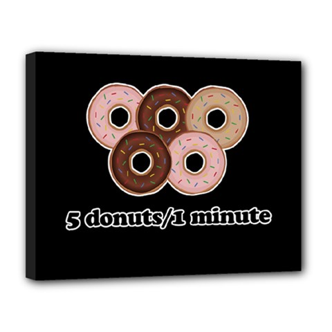 Five donuts in one minute  Canvas 14  x 11