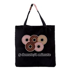 Five donuts in one minute  Grocery Tote Bag