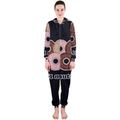 Five donuts in one minute  Hooded Jumpsuit (Ladies)