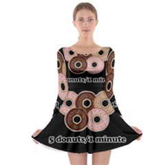Five donuts in one minute  Long Sleeve Skater Dress