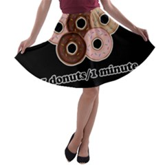 Five donuts in one minute  A-line Skater Skirt