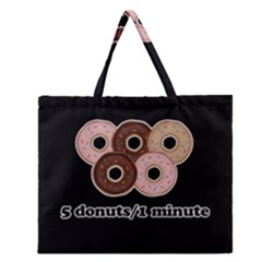 Five donuts in one minute  Zipper Large Tote Bag