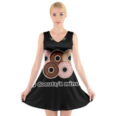 Five donuts in one minute  V-Neck Sleeveless Skater Dress