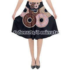 Five donuts in one minute  Flared Midi Skirt