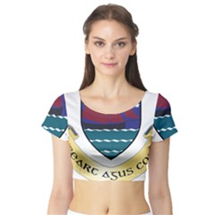 Coat of Arms of County Galway  Short Sleeve Crop Top (Tight Fit)