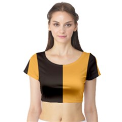 Flag of County Kilkenny Short Sleeve Crop Top (Tight Fit)