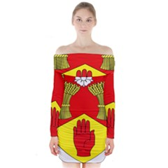 County Londonderry Coat of Arms Long Sleeve Off Shoulder Dress