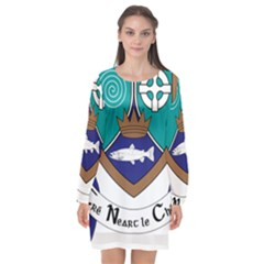 County Meath Coat Of Arms Long Sleeve Chiffon Shift Dress