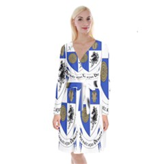 County Monaghan Coat of Arms Long Sleeve Velvet Front Wrap Dress