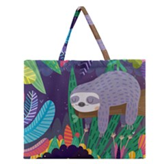 Sloth in nature Zipper Large Tote Bag