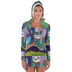 Sloth in nature Women s Long Sleeve Hooded T-shirt