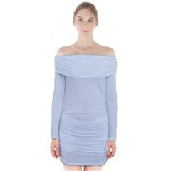 Pastel Color   Light Azureish Gray Long Sleeve Off Shoulder Dress