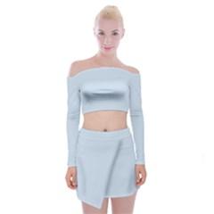 Pastel Color   Light Azureish Gray Off Shoulder Top With Skirt Set